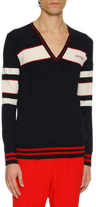 Alexander McQueen Men's Striped Wool-Blend Varsity Sweater