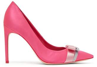 Sophia Webster Andie Bow Trim Satin Point Toe Pumps - Womens - Pink