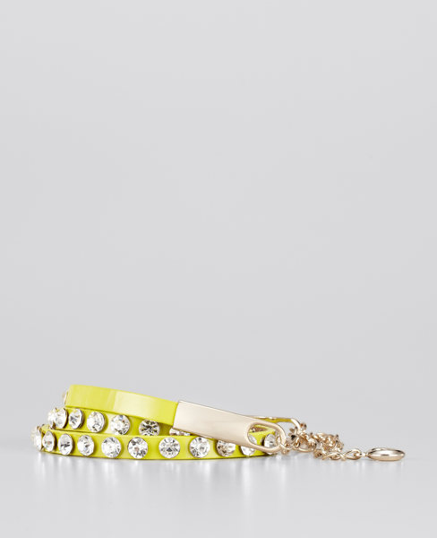 Bejeweled Skinny Patent Leather Belt