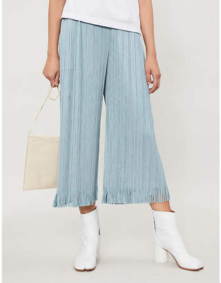 Pleats Please Issey Miyake Fringe wide-leg cropped pleated trousers