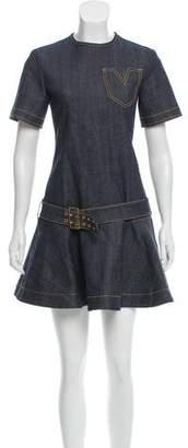 Louis Vuitton Raw-Denim Belted Dress