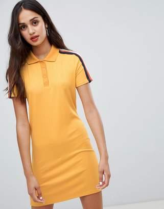 Bershka polo collar ribbed dress in mustard