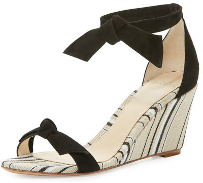 Alexandre BirmanAlexandre Birman Clarita Striped Wedge Sandal, Black/Balm/Natural