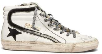 Golden Goose Deluxe Brand - Slide High Top Leather Trainers - Womens - Navy White