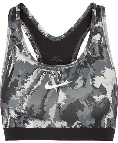 Nike - Pro Classic Printed Stretch-jersey Sports Bra - Gray