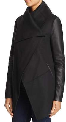 Mackage Vane Draped Wrap Leather-Sleeve Coat - 100% Exclusive
