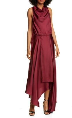 AMUR Nikita Asymmetrical Silk Satin Dress