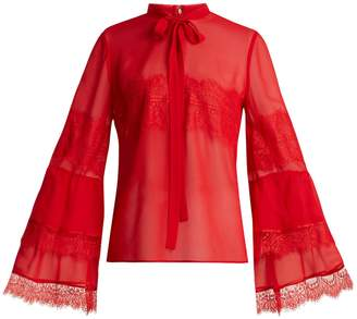 Tie-neck lace-trimmed silk-georgette blouse