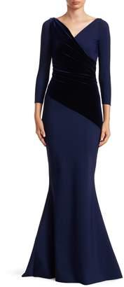 Chiara Boni Erendira Velvet MM Long Sleeve Gown
