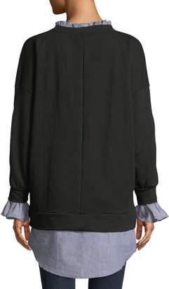 Lumie Ruffled Shirt-Trim Terry Tunic