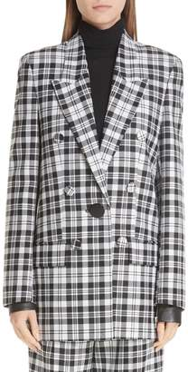 Alexander Wang Leather Cuff Checked Wool Blazer