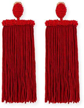 Oscar de la Renta Silk Tassel Waterfall Clip-On Earrings