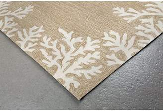 Highland Dunes Claycomb Coral Border Hand-Tufted Neutral Indoor/Outdoor Area Rug