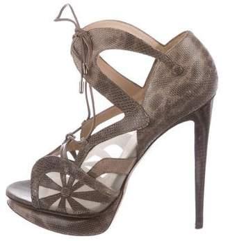 Nicholas Kirkwood Lizard Lace-Up Sandals