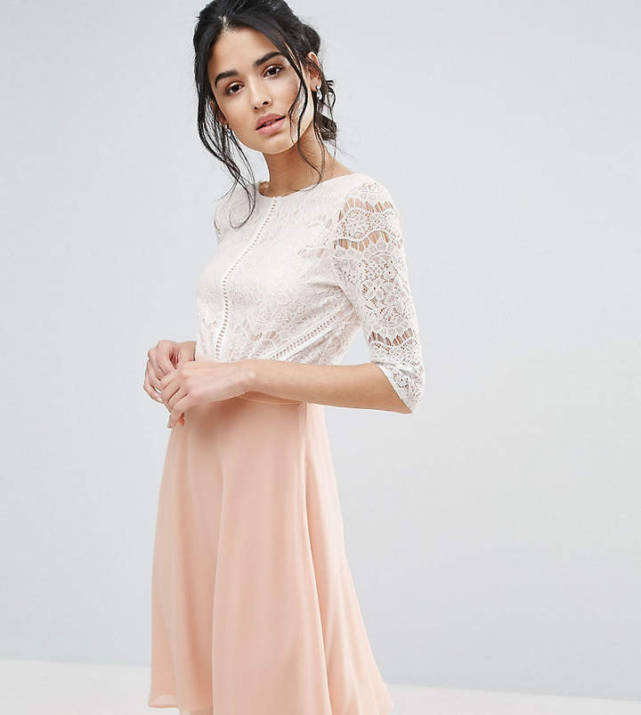 Elise Ryan Midi Dress With Scallop Lace Bodice And Low Back