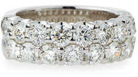NM Diamond Collection Two-Row Diamond Eternity Band Ring in 18K White Gold, 3.6 tdcw, Size 6.75