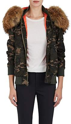 Mr & Mrs Italy Women's Fur-Trimmed Camouflage Bomber Jacket