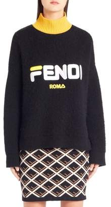 Fendi Sport Logo Wool & Cashmere Turtleneck Sweater