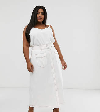 Neon Rose Plus utility maxi skirt with belted waist