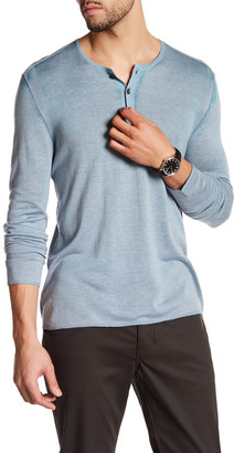 John Varvatos Collection Long Sleeve Henley Pullover $428 thestylecure.com