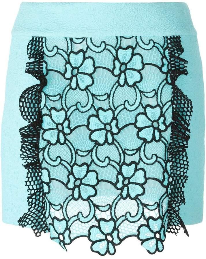 Ungaro flower motif short skirt