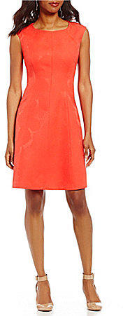 Anne Klein Anne Klein Pleated Jacquard Cap Sleeve Fit-and-Flare Dress