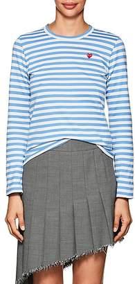 Comme des Garcons Women's Heart Striped Cotton T-Shirt - Blue