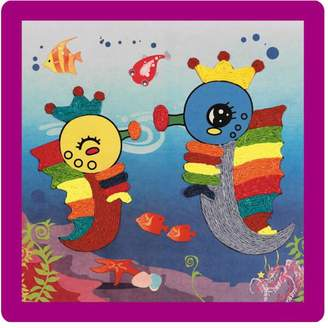 Black Temptation [Hippocampus] 2PCS -Creative Baby's DIY Rope Paste Painting