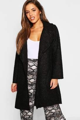 boohoo Petite Longline Collar Teddy Coat