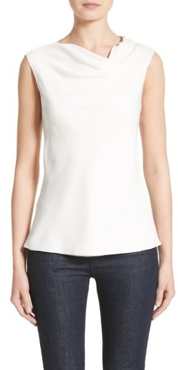 Women's Armani Collezioni Cowl Neck Stretch Silk Charmeuse Top