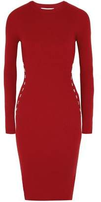 Thierry Mugler Embellished Ribbed-Knit Dress
