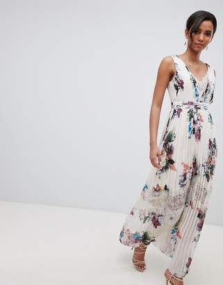 Little Mistress pleated maxi dress in floral print in cream multi