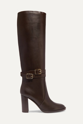 Gianvito Rossi 85 Leather Knee Boots - Dark brown