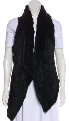 Elizabeth and James Leather Fur-Trimmed Vest
