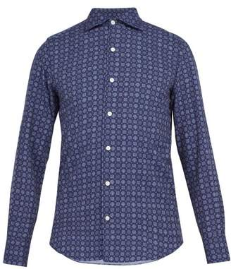 Finamore 1925 - Geometric Print Washed Cotton Shirt - Mens - Blue