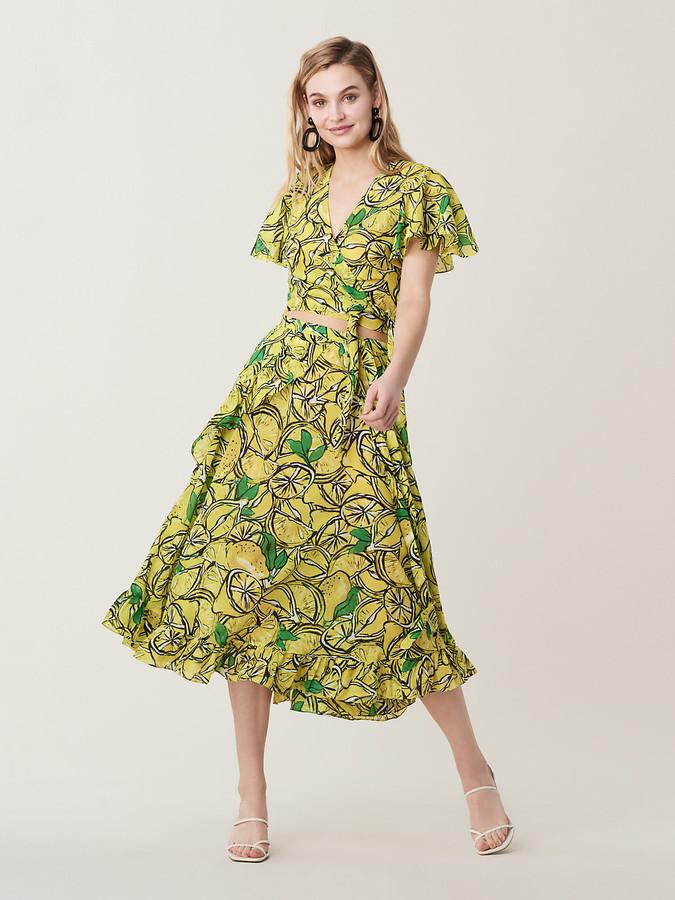 c849ca8520da Diane Von Furstenberg Clarissa Ruffled Cotton Voile Beach Wrap Skirt