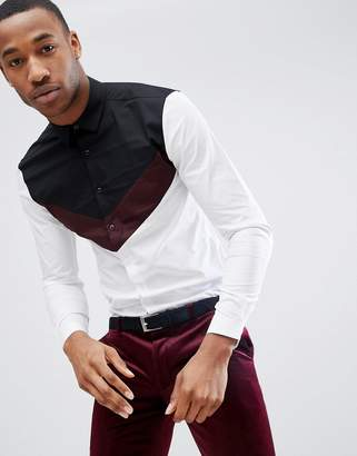 Asos Skinny Cut And Sew Shirt With Burgundy Panel
