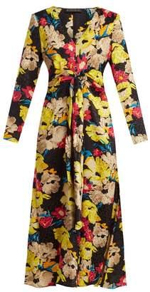 Etro Agogo V Neck Floral Print Silk Midi Dress - Womens - Black Print