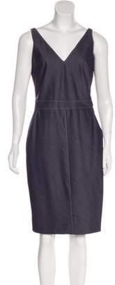 Richard Tyler Chambray Knee-Length Dress Blue Chambray Knee-Length Dress