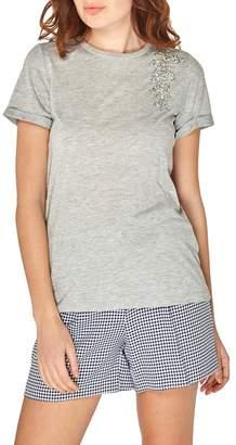 Dorothy Perkins Grey Embellished Leaf T-Shirt
