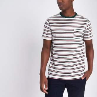 River Island White stripe chest pocket T-shirt