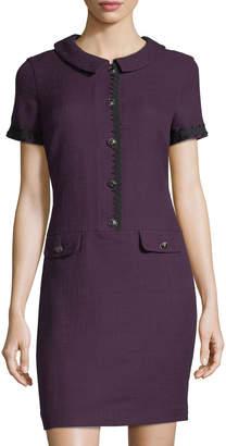 Karl Lagerfeld Paris Tweed Shirtdress W/ Novelty Buttons