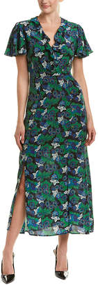 Saloni London Josee Floral Print Wrap Dress