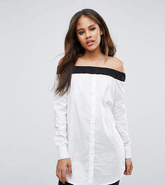 Noisy May Tall Off Shoulder Button Shirt