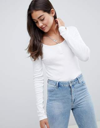 Asos Design DESIGN long sleeve t-shirt with button front in white
