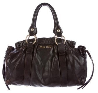 Miu Miu Miu Miu Ruched Leather Satchel