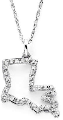 JCPenney FINE JEWELRY 1/10 CT. T.W. Diamond Sterling Silver Louisiana State Pendant Necklace