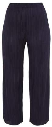 Pleats Please Issey Miyake Split Cuff Pleated Trousers - Womens - Navy