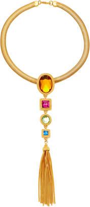 Ben-Amun Ben Amun Tasseled Gold-Plated Crystal Necklace