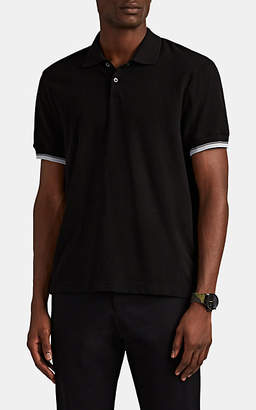 James Perse Men's Contrast-Tipped Cotton Piqué Polo Shirt - Black